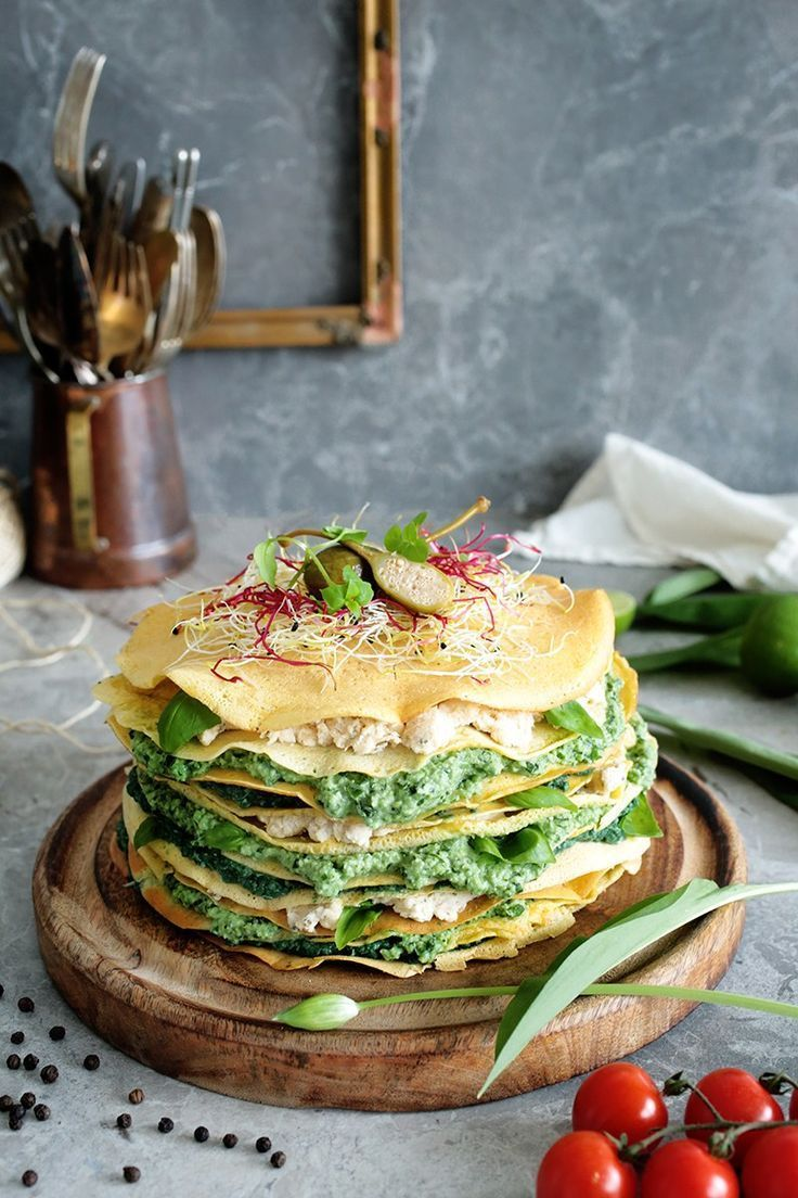 Vegan Savoury Chickpea Crepe Cake with delicious green fillings. This cake is a vitamin, nutrient and protein bomb, yet it doesn't taste 'healthy' at all.