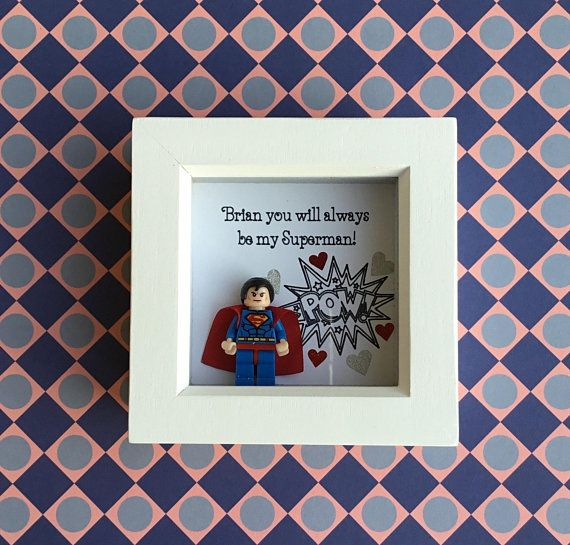 Superman Birthday Gift For Him Frame Boyfriend Husband Personalised Lego Style
