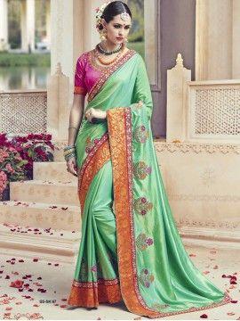 Engrossing Art Silk Sea Green Color Designer Saree