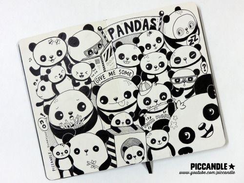 Pandas   Moleskine Doodle by PicCandle   www.youtube.com/piccandle