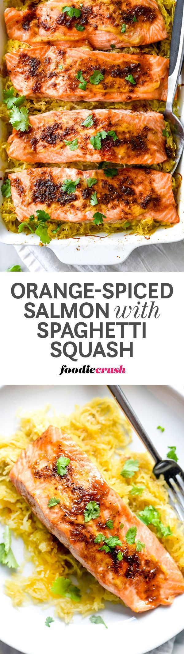 A combination of five-spice powder, brown sugar and orange zest gives a sweet but subtle flavor to this combination of salmon with a side of spaghetti squash | foodiecrush.com #salmon #dinner #squash