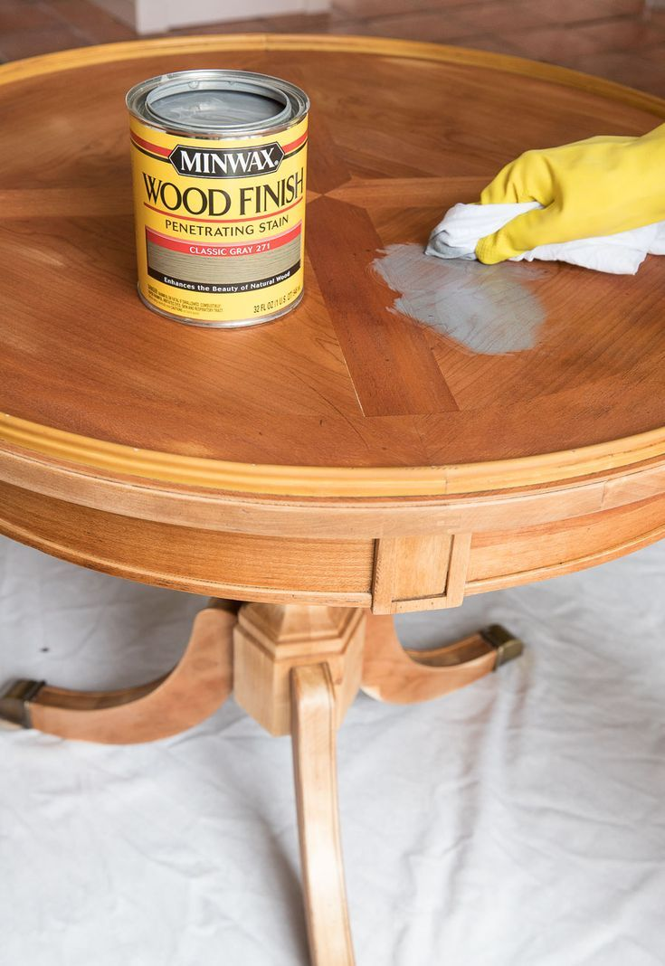 Refinishing A Table How I Brought My Beat Up End Table Back To Life Driven By Decor Staining Furniture Stained Table Kitchen Table Oak