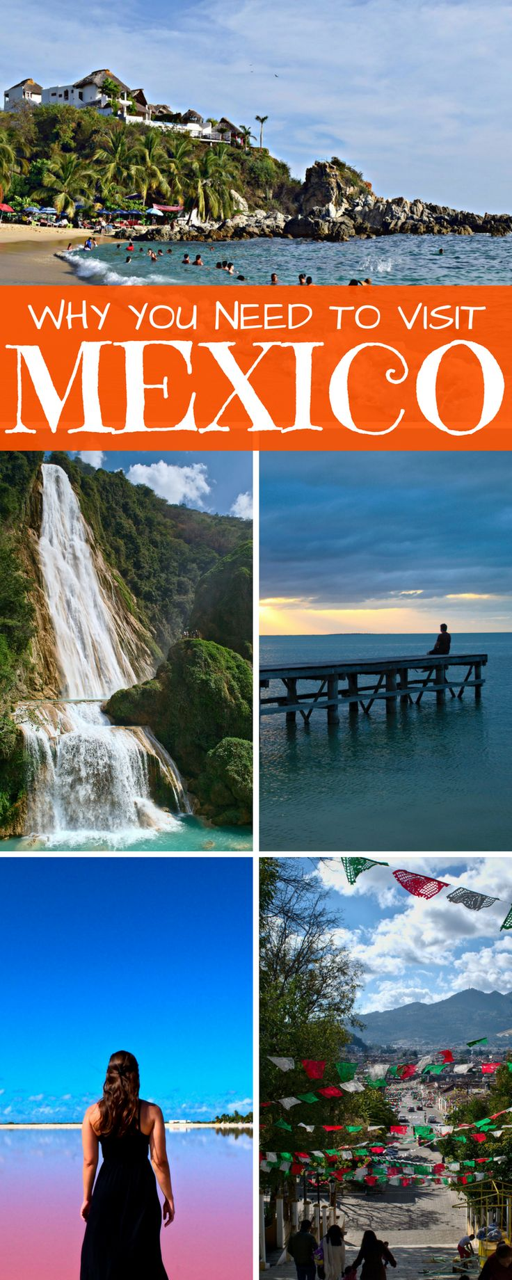 Beautiful waterfalls, impressive ruins, lively cities, delicious food, incredible beaches: there are dozens of reasons to backpack Mexico! #méxico #mexico #travel #ttot #waterfall #pink #beachlife