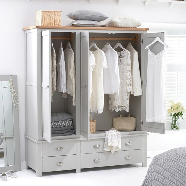 Sandringham Solid Oak Painted Cream/Grey Triple Wardrobe -  - Wardrobe - Mark Harris - Space & Shape - 12