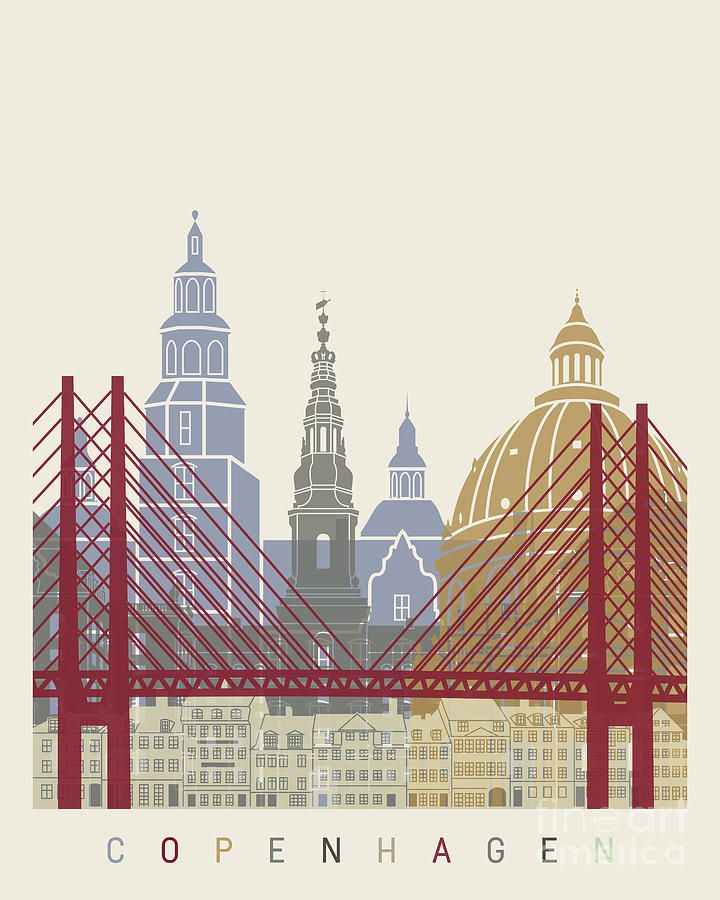 Copenhagen Skyline Poster Painting by Pablo Romero