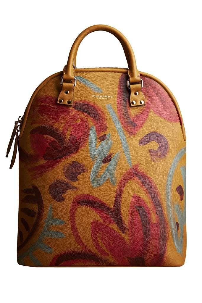 Collezione Borse Burberry Prorsum autunno inverno 2014-2015 - Handbag ocra con decorazioni rosse