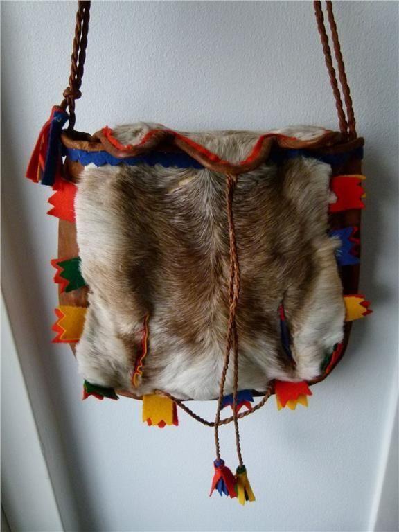Vintage sami bag in reindeer fur