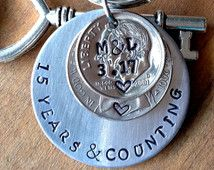 15 Year Anniversary Key Chain 2001 / I Still Do /15th Anniversary Gift for Men Women / Couple Wedding Anniversary/ Stamped Dime/Hand Stamped