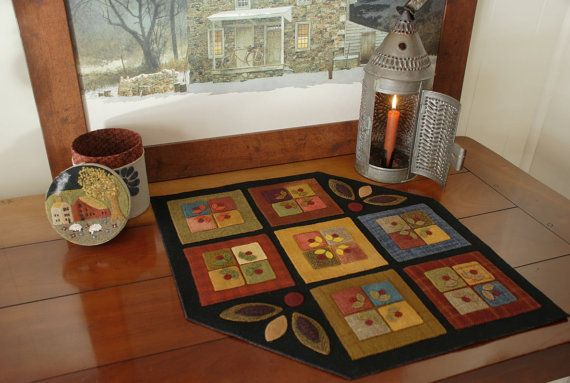 Wool applique table runner penny rug folk art stencil candle mat Amish quilt block primitive felted wool felt hand dyed rug hooking wool