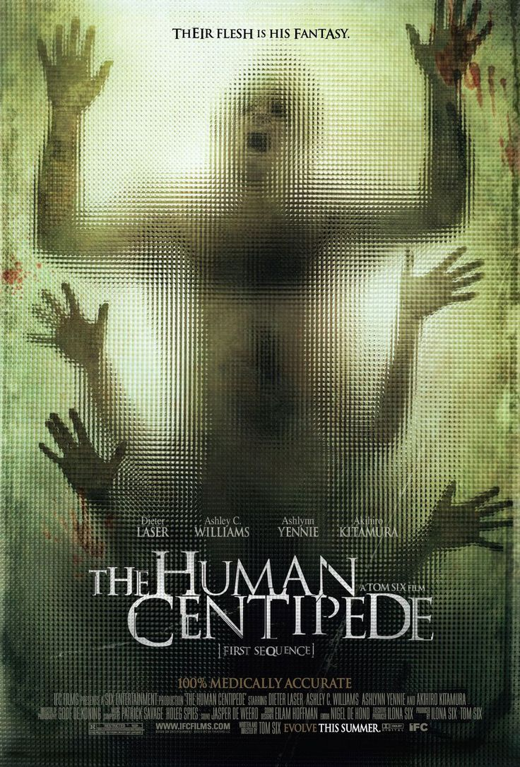 The Human Centipede , starring Dieter Laser, Ashley C. Williams, Ashlynn Yennie, Akihiro Kitamura. A mad scientist kidnaps and mutilates a trio of tourists in order to reassemble them into a new 'pet'-- a human centipede, created by stitching their mouths to each others' rectums. #Horror
