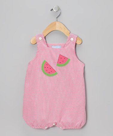 Take a look at this Pink Gingham Watermelon Bubble Romper - Infant by Monday's Child on #zulily today!