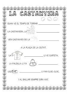poemes , cançons i fitxes de LA CASTANYERA
