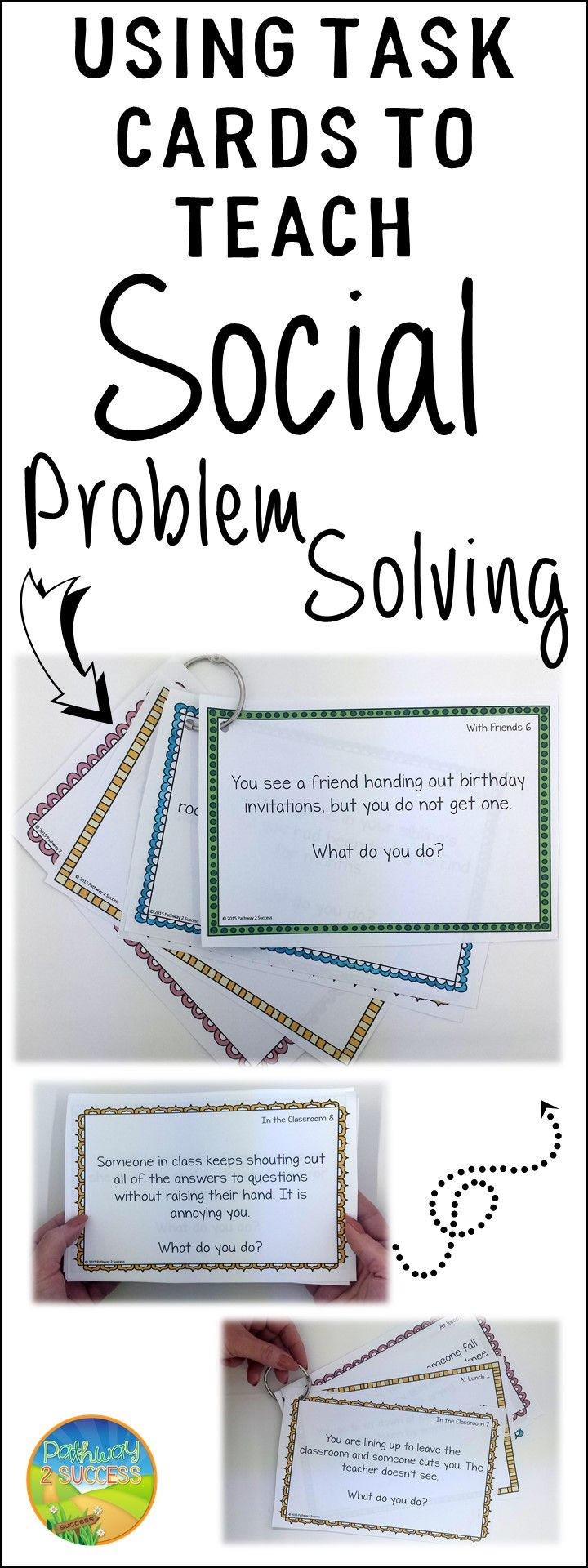 Strategies and tips for using task cards to teach social problem solving skills #pathway2success #specialeducation #socialskills