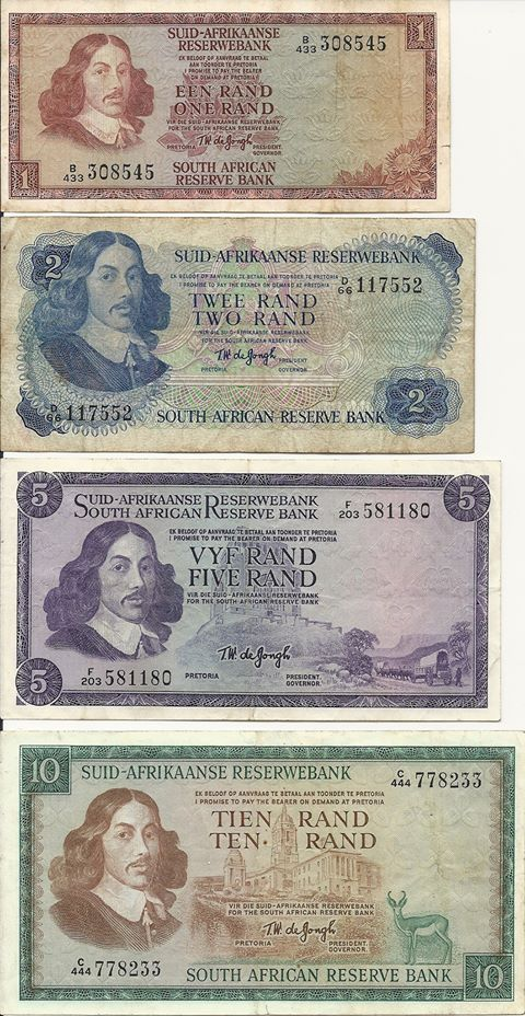 Old South African Rand currency. I remember receiving these for a birthday or Christmas present inside a card. Can't imagine posting money through the post in today's world.