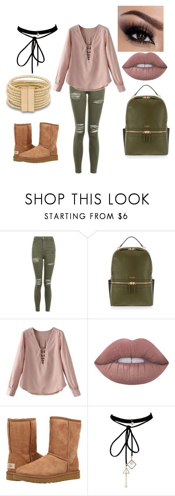"""""""Pink and Olive Green"""" by albajaria23 ❤ liked on Polyvore featuring Topshop, Henri Bendel, Lime Crime, UGG Australia and WithChic"""
