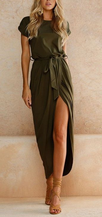 $22.89 SALE! SHOP NOW>>>Solid Color Split-front Round-neck Maxi Dress