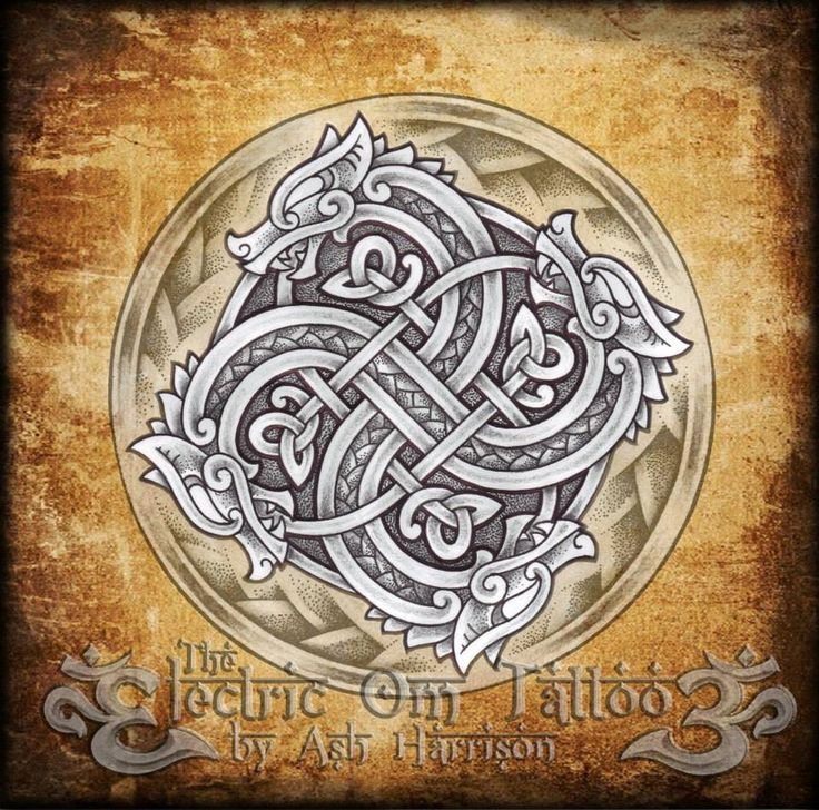 by Ash Harrison - Knotwork Dragon Swasticross pencil,pen on paper -digital background