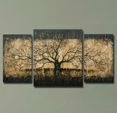 HUGE Triptych Tree Painting Bare Branches by BrittsFineArt