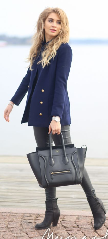 Navy And Black Transitional Spring Inspiration Outfit by Mungolife