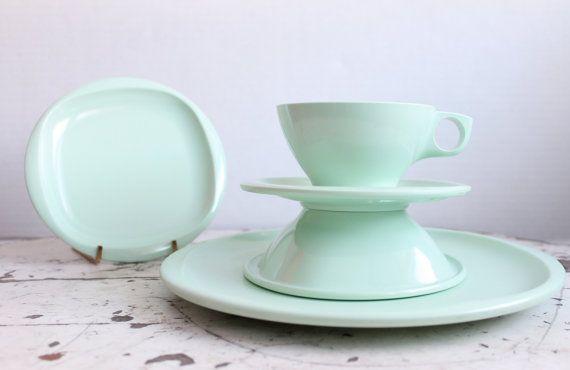 Vintage Melamine Mint Green Dinner Set 23 by BlueRememberedHills, $55.00