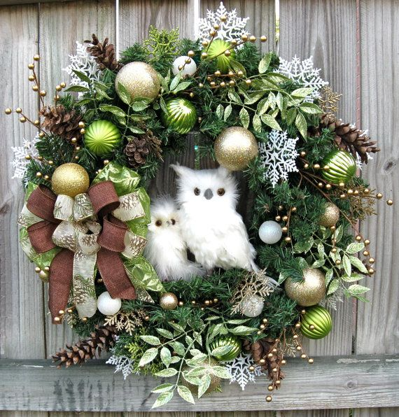 Image result for CHRISTMAS WREATHS DECORATED WITH OWLS