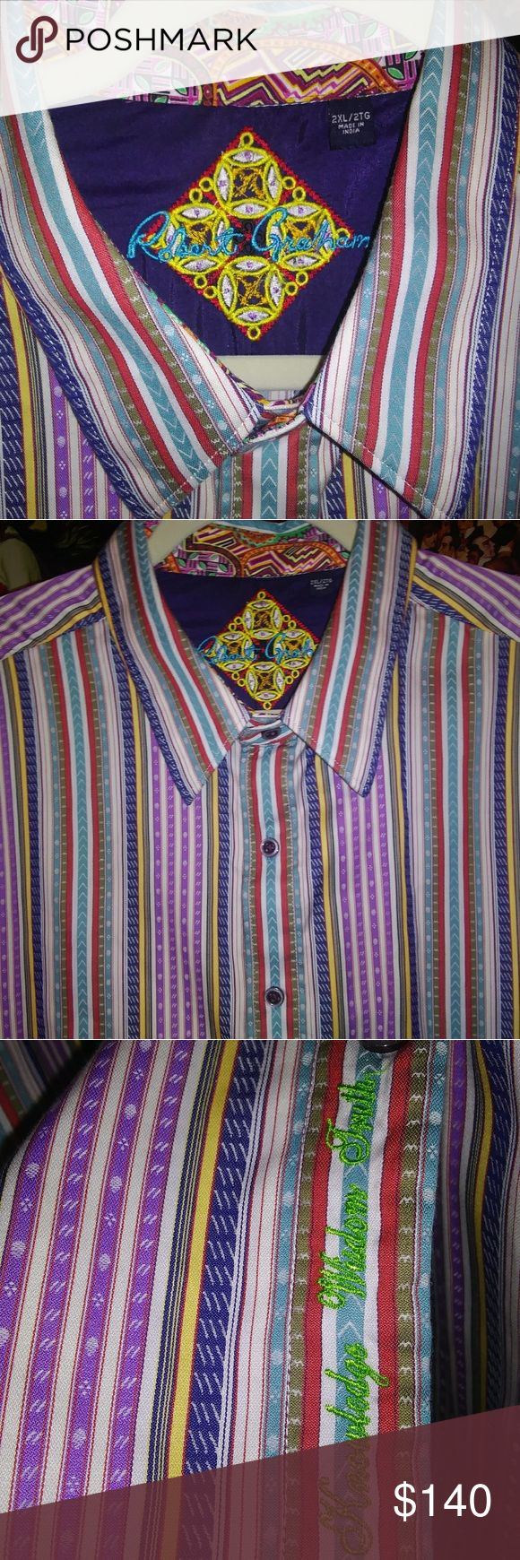 """ROBERT GRAHAM MEN'S 2XL EXCELLENT CONDITION AUTHENTIC R.G. Limited EDITION Designer Men's Long sleeve button down shirt..Size 2XL..his initials on left sleeve with his authentic signature logo on front shirt tail hem """"Knowledge Wisdom Truth""""..this is a digital screen print on 100% Imported cotton poplin..Contrast fabric inside collar & cuffs..Created & crafted in India..CREATIVE STYLISH ART on a SHIRT..:)..ALL offers will be considered!!! Robert Graham Shirts Casual Button Down Shirts"""