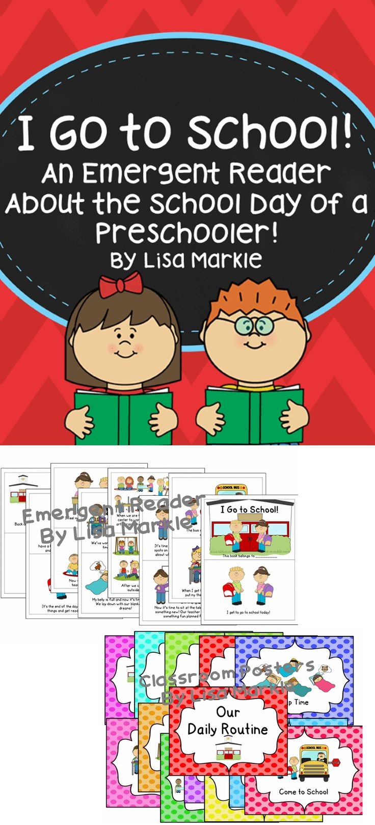 Just in time to go back to school! This is the perfect little book to read to your brand new class of preschoolers. It's a comforting way to introduce your daily classroom routine and make it sound fun. This set also includes a set of classroom posters with illustrations that match the book, so you can refer to them while transitioning throughout your day!