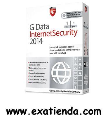 Ya disponible Antiv. gdata is 2014 1lc    (por sólo 35.95 € IVA incluído):   - GDATA Internet Security 2014 1PC (12 meses) - Protección inmediata y completa frente a virus y peligros de Internet - ahora con G Data CloseGap  - Maxima deteccion de virus, certificada en numerosas comparativas - La reaccion ms rapidada ante nuevos virus - Navegacion y compras seguras - Banca online segura - Correo y chasts seguros - Alto rendimiento en juegos online  - Nuevo! G Data CloseGap