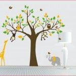 Boom met giraffe, aap en uilen - Muurstickers Babykamer & Kinderkamer