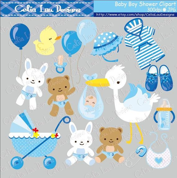 Baby Boy Clipart Boy Baby Shower Invitations by CeliaLauDesigns, $5.00