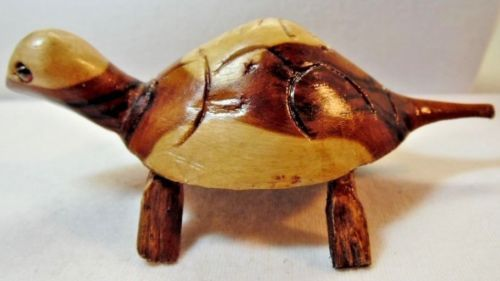 Carved-Wood-Turtle-Figure-Stained-Two-Tone-Brown-and-Tan-Miniature