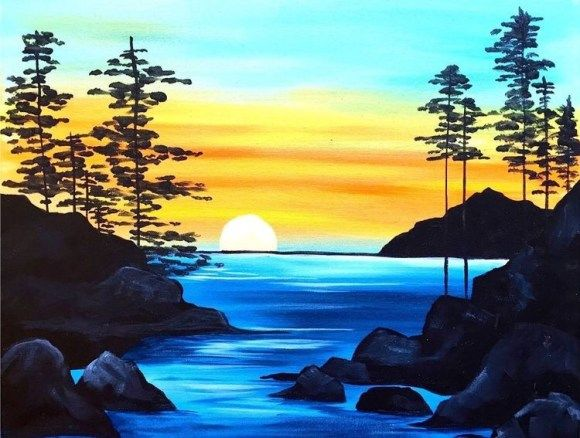 15 Acrylic Painting Ideas For Beginners Landscape Art Lessons Beginner Painting Scenery Paintings