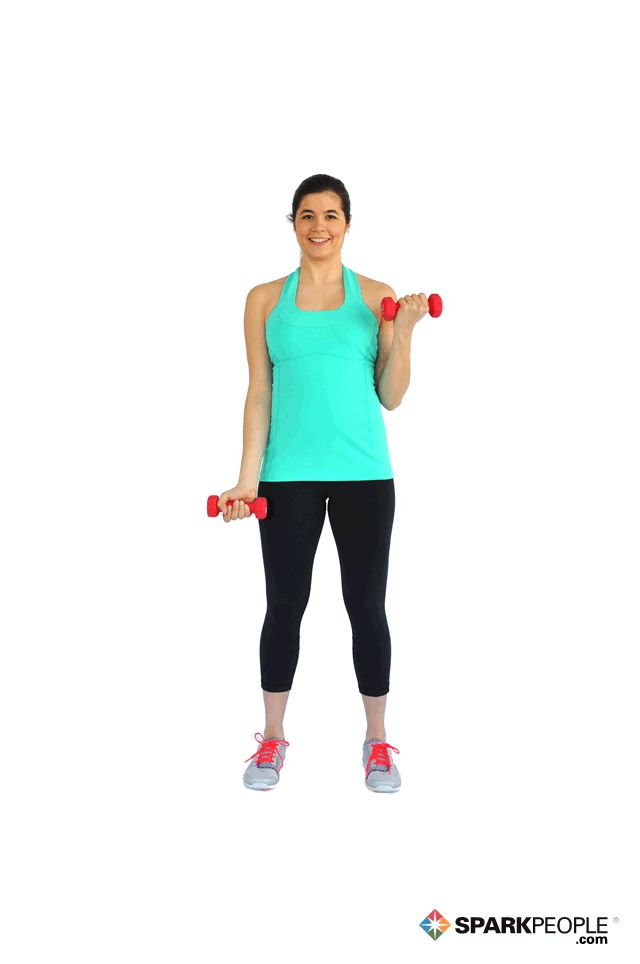 Single-Arm Dumbbell Biceps Curls Exercise Demonstration via @SparkPeople