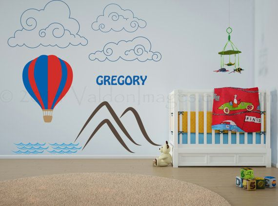 Hot air balloon personalized wall decal wall by ValdonImages, $100.00