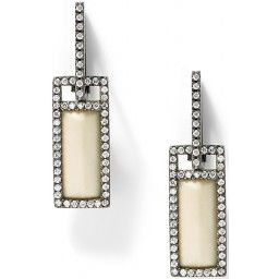 EBWD592X - Fossilized walrus ivory and white diamond rectangular earrings