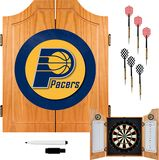 Trademark Games - Indiana Pacers Solid Pine Dart Cabinet Set - Brown