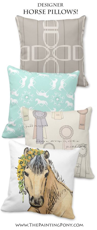 CUTE, stylish equestrian throw pillows for the horse lover home decor in the living room, bedroom, or anywhere you might add a pillow for a bit of style! beautiful and unique designer cushions great for anyone who enjoys horses, ponies, hunter jumper, dressage, or cowgirl style western horseback riding.