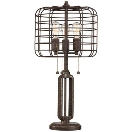 Industrial Cage Edison Bulb Rust Metal Table Lamp L I G