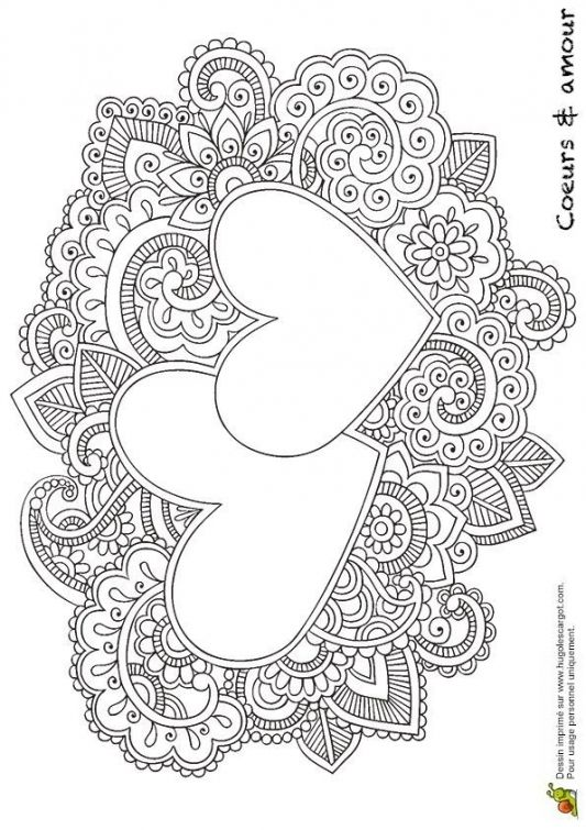 very detailed and difficult coloring page of heart doodles free to print for adult