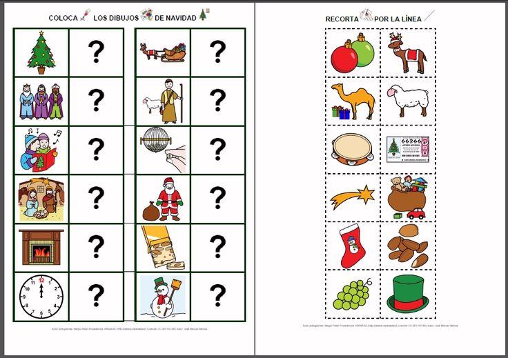 MATERIALES - Relaciona: Navidad.    Actividades para relacionar conceptos y vocabulario relacionados con la Navidad.    http://arasaac.org/materiales.php?id_material=822