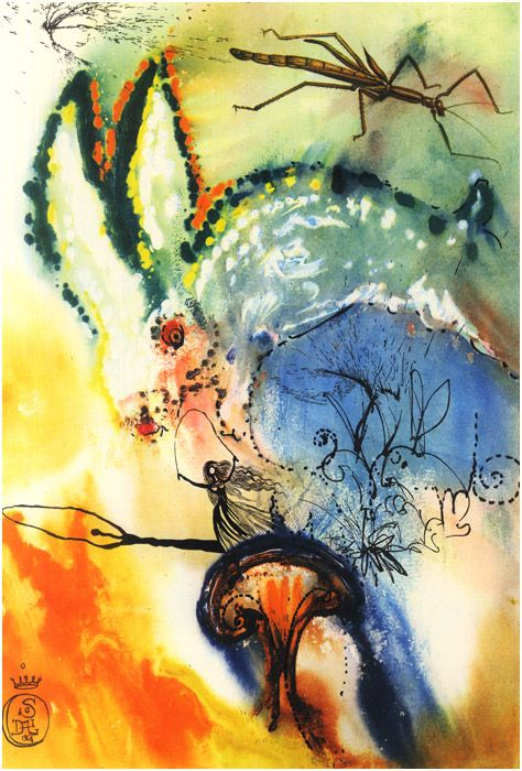 Salvador Dalí Illustrates Alice in Wonderland, 1969 - Title: Down the Rabbit Hole