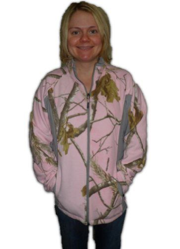 Realtree Pink Camo Jacket Womens APC Pink Lightweight Fleece Unlined Jacket S-2XL (2XL) Realtree,