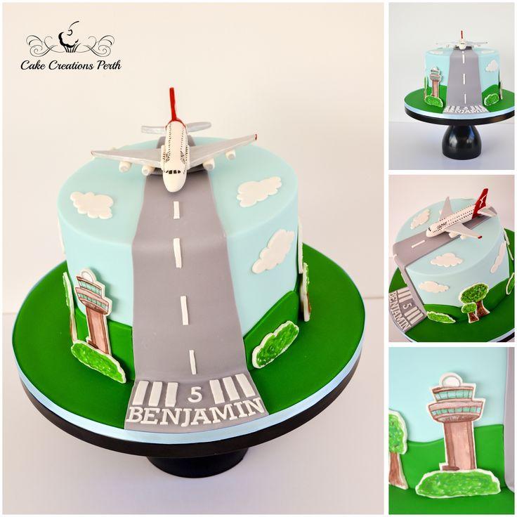 Plane cake for Benjamin, including a mini Qantas A380.