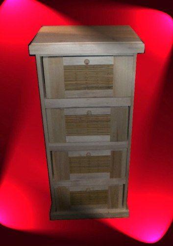 Ordenador de mimbre y madera x 4 y tigre - Cajones de mimbre ...