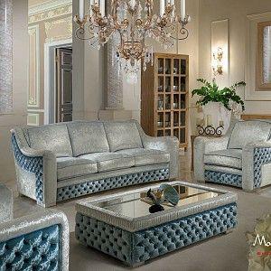 Комплект-мягкой-мебели-для-гостиной-с-центральным-столиком-и-капитоне-коллекция-Contemporary-Modenese-Gastone.jpg - Salotto in tessuto azzurro e grigio con capitonne