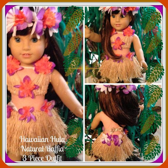 "American Girl Doll 18"" ALOHA!! Hawaiian Hula Natural Raffia 3-Piece Outfit"