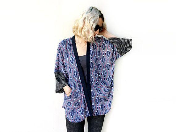 Bohemian Kimono Cardigan, Light Summer Jacket, Kimono Coverup, Blue Kimono, Unique Clothing, Summer Fashion $150