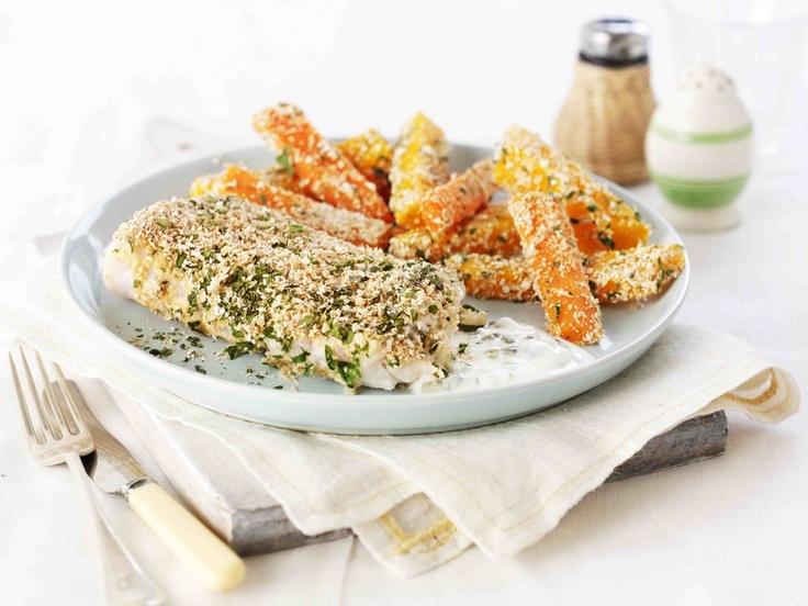 Dukan Fish & Chips--Oat Bran Breading & Butternut Squash Fries!