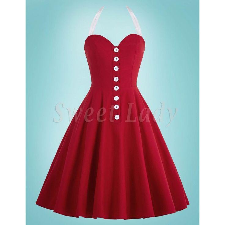 Roztomilé červené šaty v štýle vintage