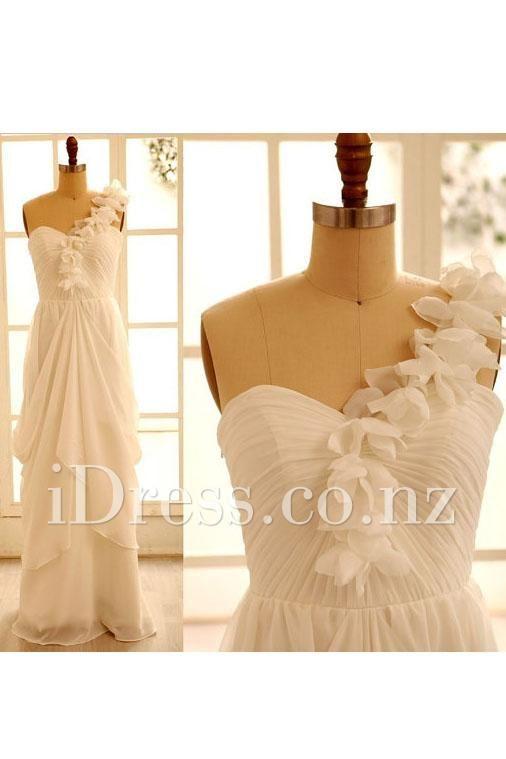 beautiful floral one-shoulder sleeveless chiffon ivory wedding dress